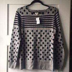 J.Crew Wool Sweater Polka Dot & Stripes Pattern